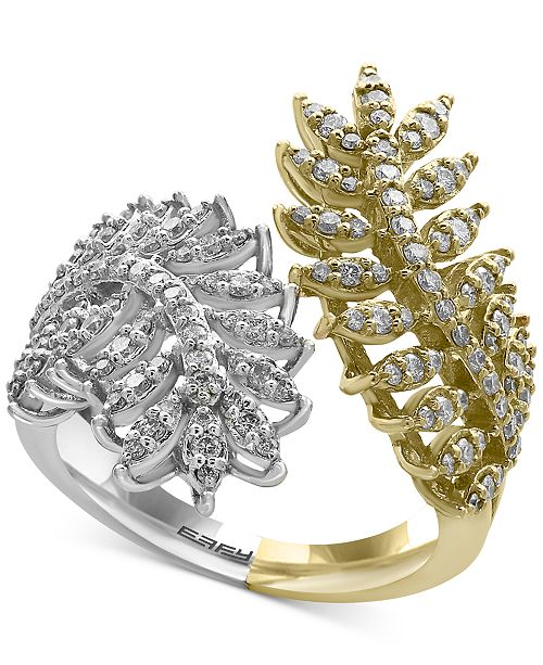 EFFY Collection EFFY® Diamond Feather Bypass Ring (3/4 ct. t.w.) in 14k Two-Tone Gold