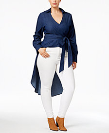 Poetic Justice Trendy Plus Size Cotton High-Low  Wrap Top
