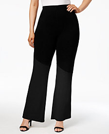 Poetic Justice Trendy Plus Size French Terry Colorblocked Soft Pants