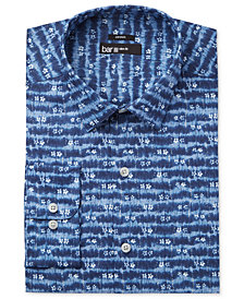 Bar III Men's Slim-Fit Stretch Indigo Tie Dye Print Dress Shirt, Created for Macy's