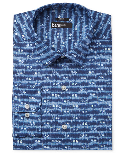 Bar III Men's Slim-Fit Stretch Indigo Tie Dye Print Dress Shirt, Created for Macy's