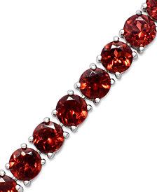 Sterling Silver Garnet Link Bracelet (20-22-1/4 ct. t.w.)