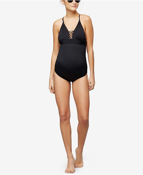 a30317bd1e9bd A Pea in the Pod Maternity Tie-Front One-Piece Swimsuit & Reviews ...