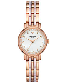 kate spade new york Women's Mini Monterey Rose Gold-Tone Stainless Steel and Blush Pink Acetate Bracelet Watch 24mm KSW1265