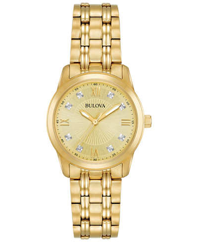 Bulova Women's Diamond Accent Gold-Tone Stainless Steel Bracelet Watch 30mm, Created for Macy's 97P119