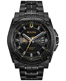 LIMITED EDITION Bulova Men's Special Edition 2017 GRAMMY® Black Stainless Steel Bracelet Watch 46mm 98B295