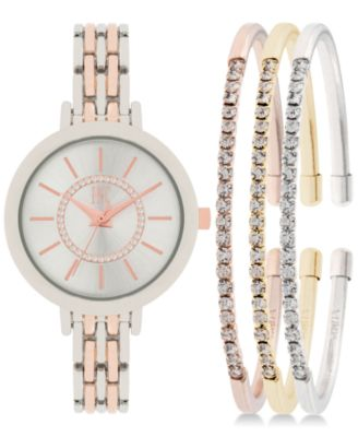 Image of INC  International Concepts Women's Two-Tone Bracelet Watch 34mm and Crystal Accented Bracelet Set,