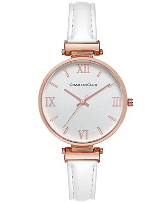Charter Club Women's White Imitation Leather Strap Watch 36mm, Only at Macy's