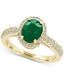 EFFY® Brasilica Emerald (1-1/8 ct. t.w.) and Diamond (1/3 ct. t.w.) Ring in 14k Gold, Created for Macy's