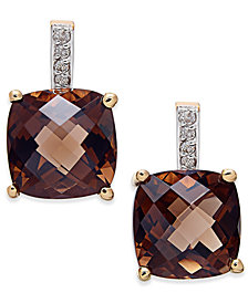 Smoky Quartz (6-1/5 ct. t.w.) and Diamond Accent Drop Earrings in 14k Gold