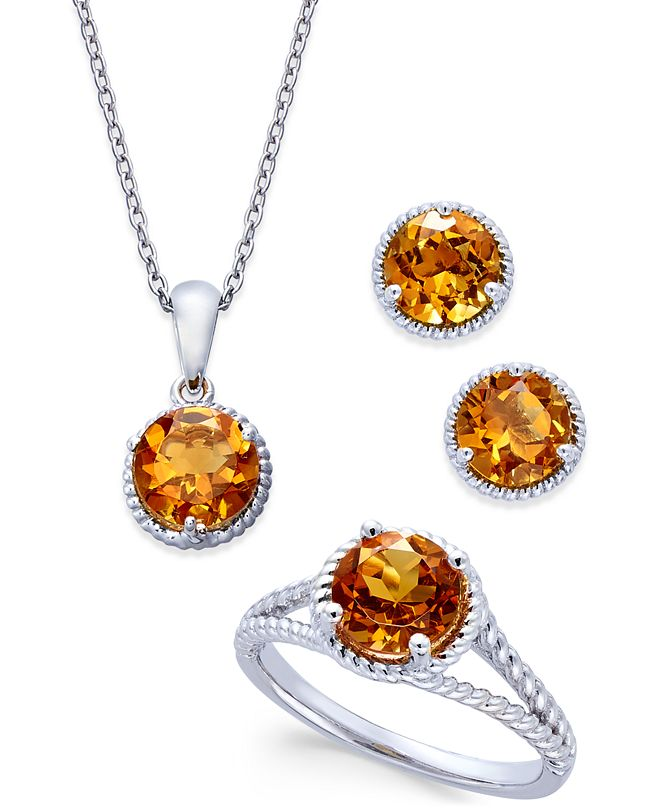 Macy's Citrine Rope-Style Pendant Necklace, Stud Earrings and Ring Set (4 ct. t.w.) in Sterling Silver