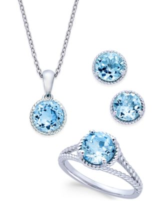 Blue Topaz Rope-Style Pendant Necklace, Stud Earrings and Ring Set (5 ct. t.w.) in Sterling Silver
