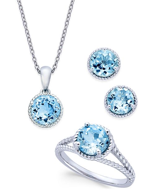 Macy's Blue Topaz Rope-Style Pendant Necklace, Stud Earrings and Ring Set (5 ct. t.w.) in Sterling Silver