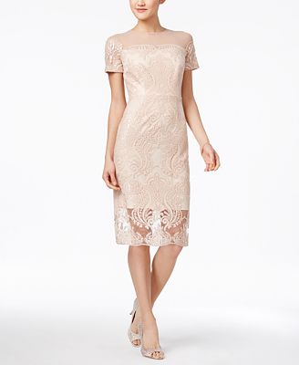 JAX Sequined Lace Illusion Sheath Dress