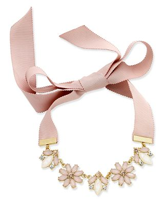 INC International Concepts Gold-Tone Clear and Pink Crystal Ribbon Choker Necklace, Only at Macy's
