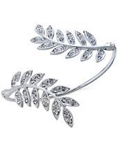 INC International Concepts Silver-Tone Pavé Double Leaf Cuff Bracelet, Created for Macy's