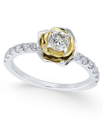Diamond Flower Engagement Ring (3/4 ct. t.w.) in 14k Gold and White Gold