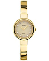 5648717f6c Seiko Women s Solar Diamond Accent Gold-Tone Stainless Steel Bangle  Bracelet Watch 22mm SUP366