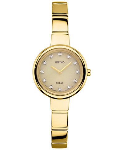Seiko Women's Solar Diamond Accent Gold-Tone Stainless Steel Bangle Bracelet Watch 22mm SUP366