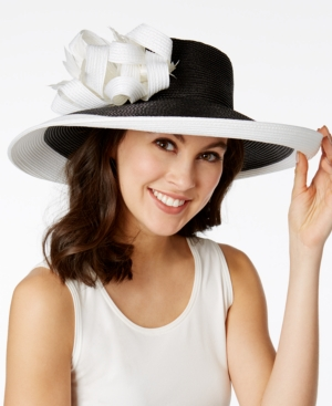 Retro Vintage Style Hats August Hats Hibiscus Romantic Brim Hat $80.00 AT vintagedancer.com