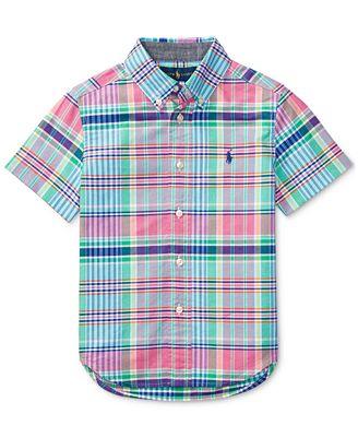 Ralph Lauren Short-Sleeve Button-Down Madras Plaid Shirt, Toddler ...