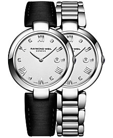 RAYMOND WEIL Women's Swiss Shine Diamond Accent Stainless Steel Bracelet Watch with Interchangeable Black Satin Strap 32mm 1600-ST-00618