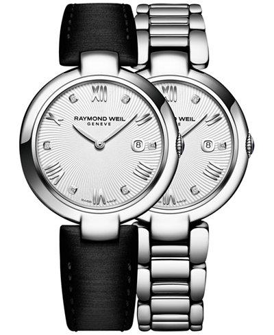 RAYMOND WEIL Women's Swiss Shine Diamond Accent Stainless Steel Bracelet Watch with Interchangeable Black Satin Strap 32mm 1600-ST-00618