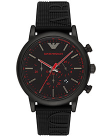 Emporio Armani Men's Chronograph Black Silicone Strap Watch 46mm AR11024