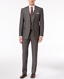 Perry Ellis Men's Slim-Fit Portfolio Gray Herringbone Vested Suit