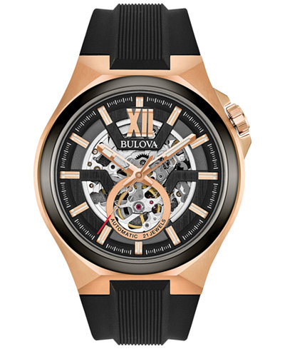 Bulova Men's Automatic Black Silicone Strap Watch 46mm 98A177