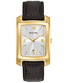 Bulova Men's Brown Leather Strap Watch 31x47mm 97B162