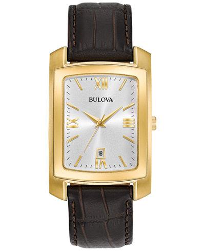 Bulova Men's Brown Leather Strap Watch 31x47mm 97B162