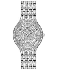 Bulova Women's Crystal Accented Stainless Steel Bracelet Watch 32mm 96L243