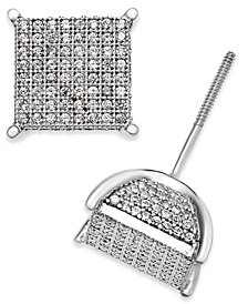 Men's Diamond Square Cluster Stud Earrings (3/4 ct. t.w.) in Sterling Silver