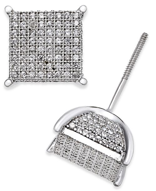 0ea6cc7fb Macy's Men's Diamond Square Cluster Stud Earrings (3/4 ct. t.w.) in ...