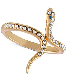 Gold-Tone Crystal Studded Snake Ring