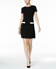 Faux-Pocket Shift Dress