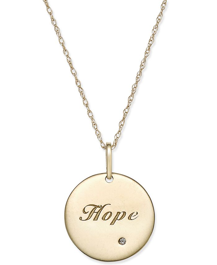 Macy's - Swarovski Zirconia Inspirational Disc Pendant Necklace in 10k Gold