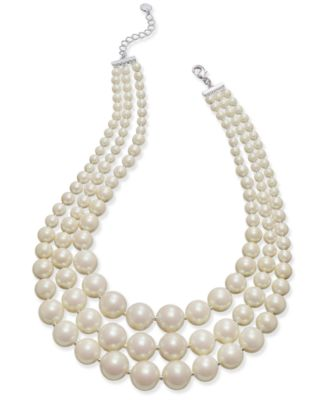 Image of Charter Club Imitation Pearl Three-Row Collar Necklace, Only at Macy's