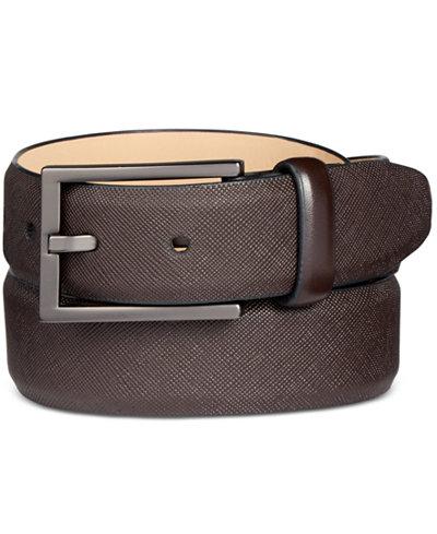 Alfani Men's Faux Saffiano Dress Belt, Created for Macy's