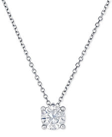 Diamond Solitaire Pendant Necklace (3/4 ct. t.w.) in 14k White Gold