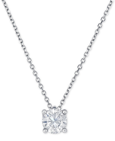 Diamond solitaire pendant necklace 34 ct tw in 14k white gold diamond solitaire pendant necklace 34 ct tw in 14k white gold aloadofball Choice Image