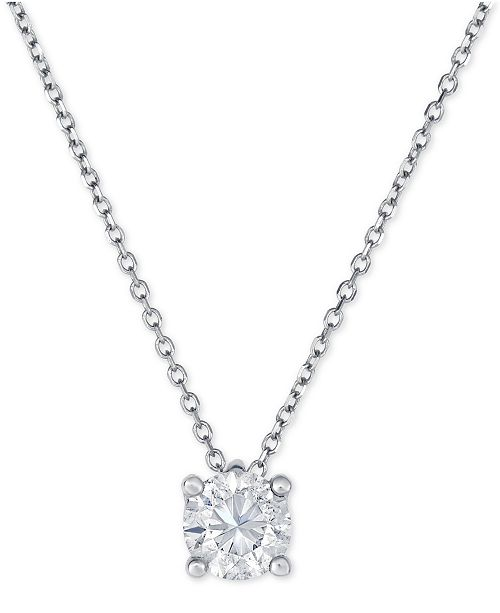 Macys diamond solitaire pendant necklace 34 ct tw in 14k main image aloadofball Image collections