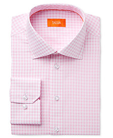Tallia Men's Fitted Gingham Printed Ground Dress Shirt