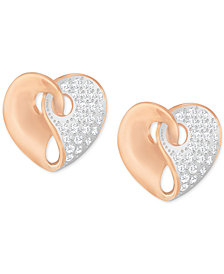 Swarovski Two-Tone Pavé Heart Earrings