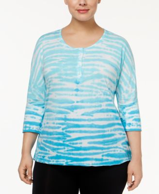 Calvin Klein Performance Plus Size Printed Henley Top