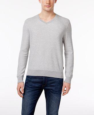 Michael Kors Men's V-Neck Supima Cotton Sweater, Created for ...