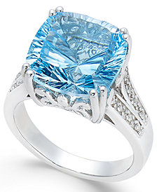 Blue Topaz (6 ct. t.w.) and White Topaz Accent Ring in Sterling Silver