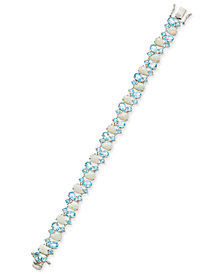 Blue Topaz (8 ct. t.w.) and Opal (8 ct. t.w.) Link Bracelet in Sterling Silver