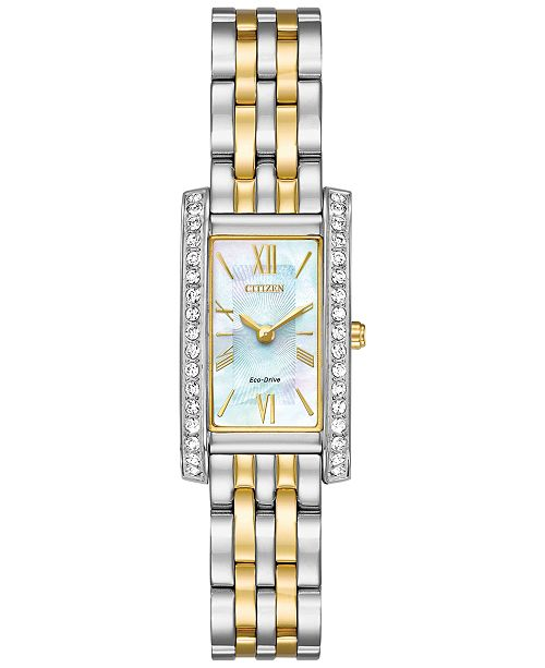 Citizen Eco-Drive Women's Silhouette Crystal Jewelry Two-Tone Stainless Steel Bracelet Watch 18x32mm EX1474-51D